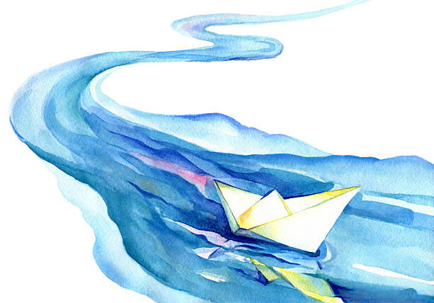 white paper boat floating in the water. - river paper stock illustrations, clip art, cartoons, & icons