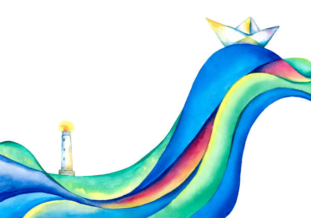 white paper boat, river and lighthouse - river paper stock illustrations, clip art, cartoons, & icons