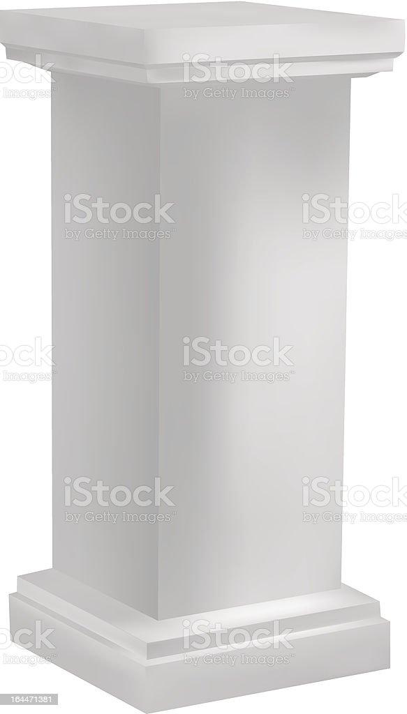 White pedestal vector art illustration