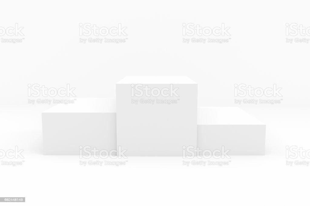 White pedestal. Winners podium for design template pr layout background, 3d render vector art illustration
