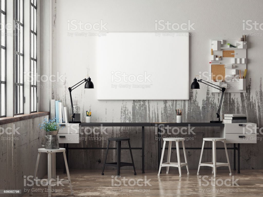 White poster in hipster office - Illustration vectorielle