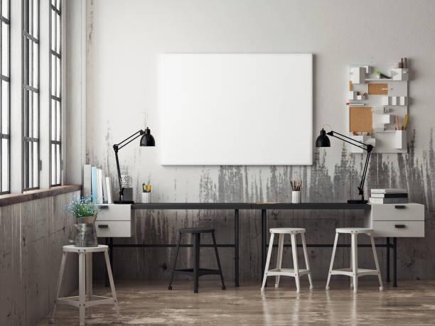 illustrations, cliparts, dessins animés et icônes de white poster in hipster office - architecture intérieure beton