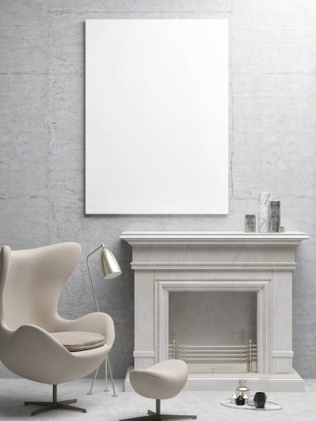 White poster, living room with fireplace White poster, living room with fireplace, 3d illustration bedroom borders stock illustrations