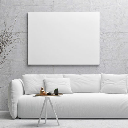 White poster on concrete wall, living room