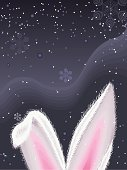 White rabbit ears with snowflakes