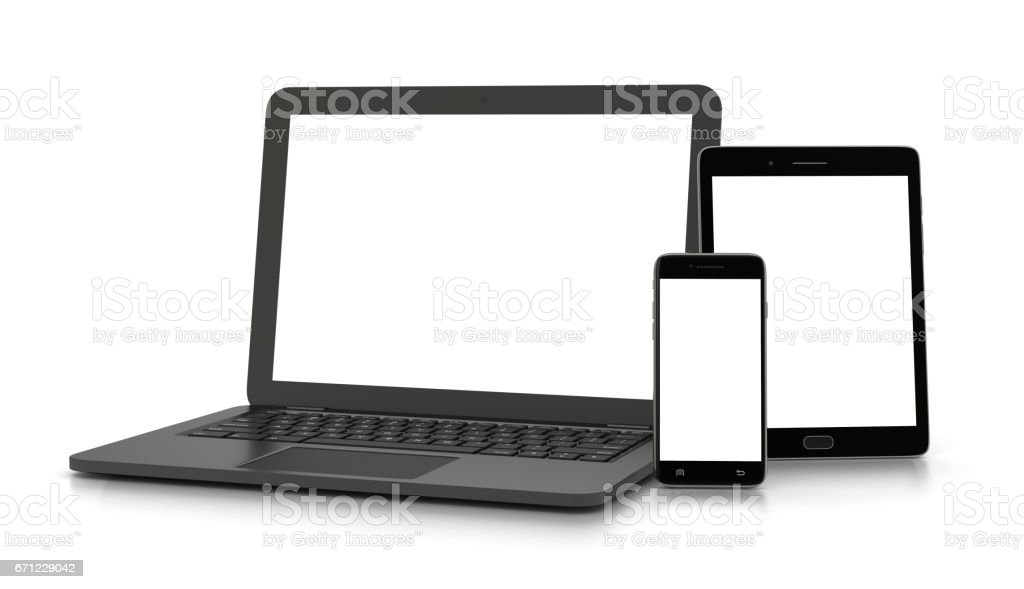 White Screen Electronics Devices vector art illustration