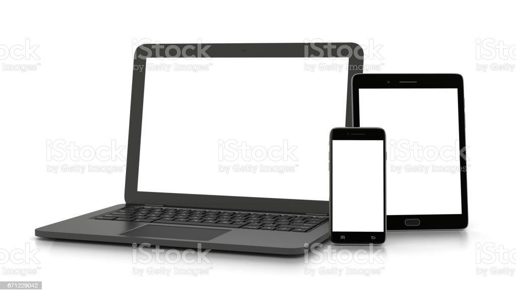Dispositivos electrónicos de pantalla blanca - ilustración de arte vectorial