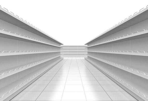 white supermarket corridor one supermarket corridor with empty shelves on white background (3d render) grocery aisle stock illustrations