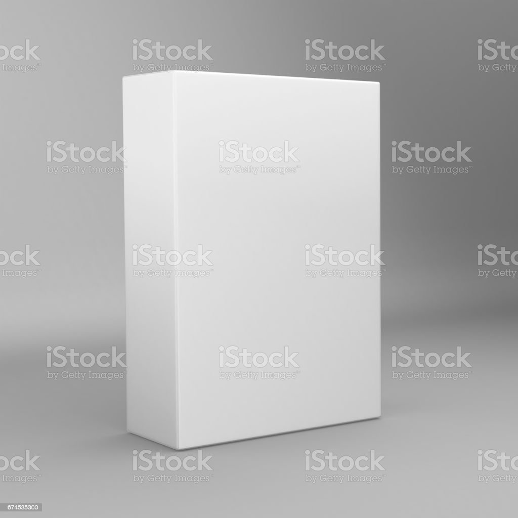 White tall rectangle blank box isolated on white background. vector art illustration