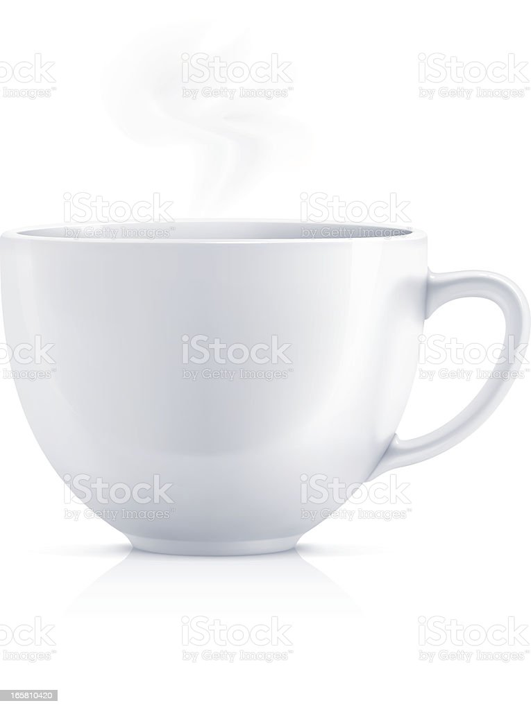 White teacup vector art illustration