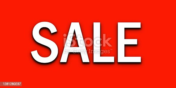 White text sale tag on red background.