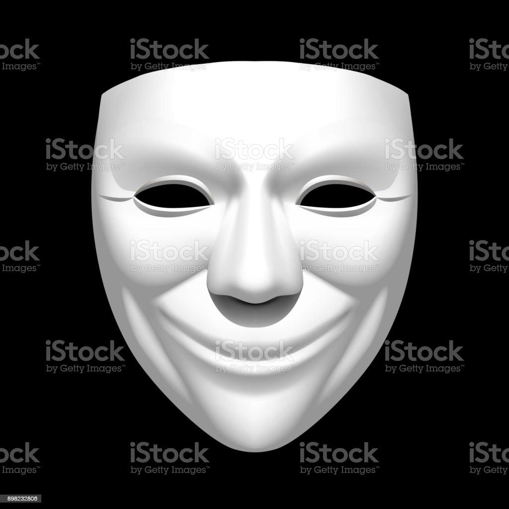 Théâtre Blanc Sourire Masque Isolé Sur Fond Noir Vecteurs Libres