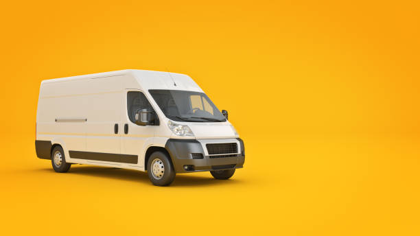 white truck-fast shipping. 3d rendering - delivery van stock illustrations, clip art, cartoons, & icons