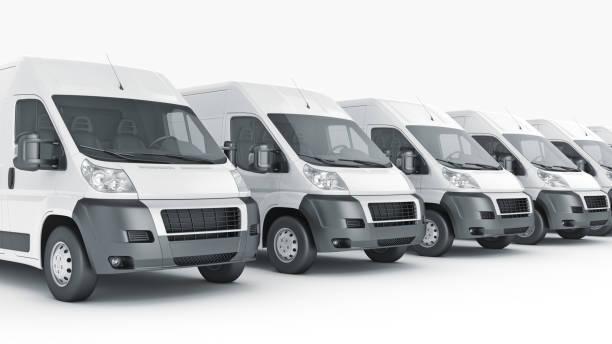 White Truck-Fast shipping. 3D rendering vector art illustration