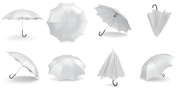 illustrazioni stock, clip art, cartoni animati e icone di tendenza di white umbrellas and parasols in various positions open  folded collectio - mockup outdoor rain