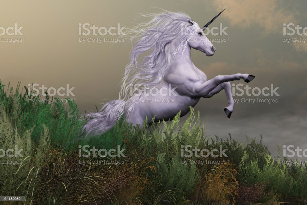 White Unicorn on Mountain vector art illustration