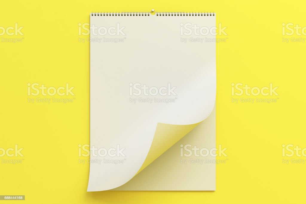 White Wall Calendar Mockup On Yellow Background Stock Vector Art ...