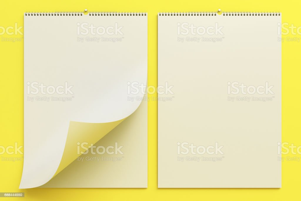 White Wall Calendar Mockup On Yellow Background Stock Vector Art ...