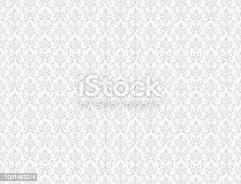 White damask wallpaper with grey floral patterns