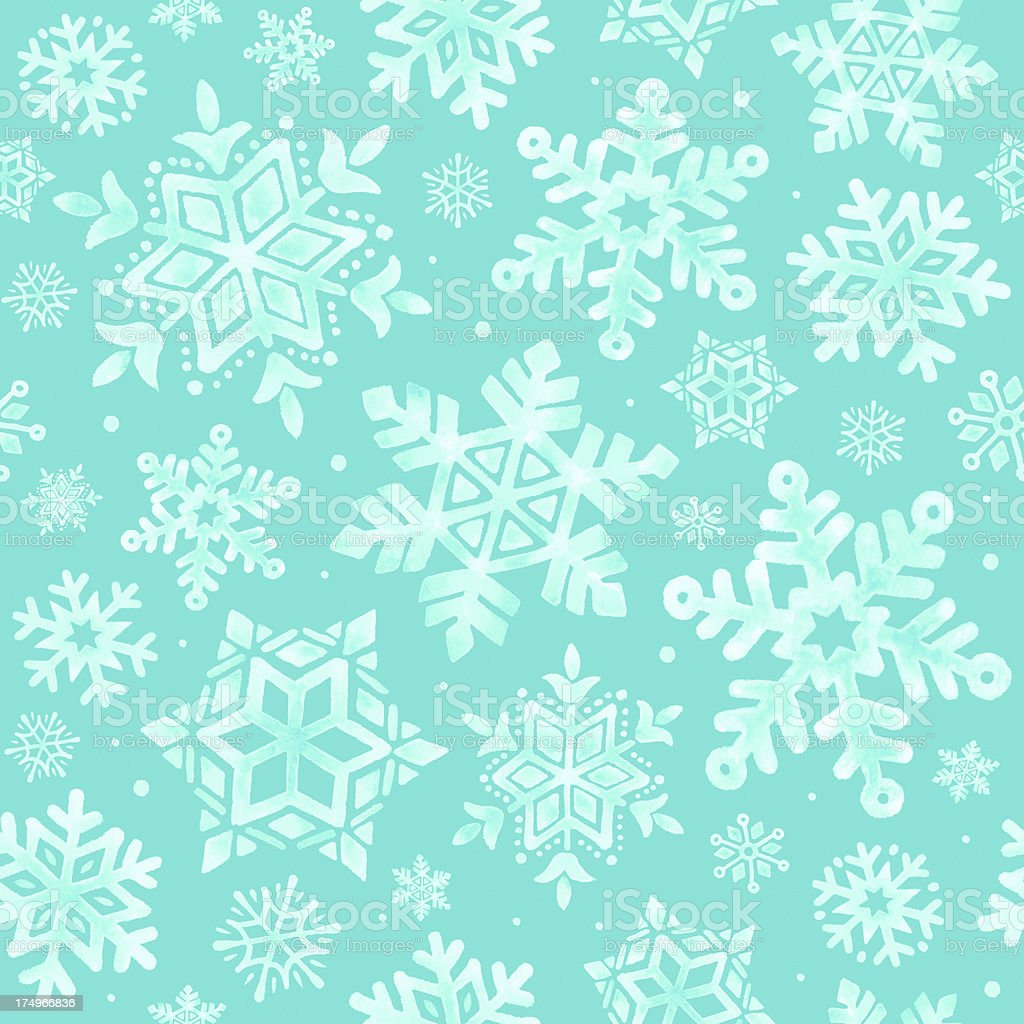 White watercolor snowflakes seamless pattern vector art illustration