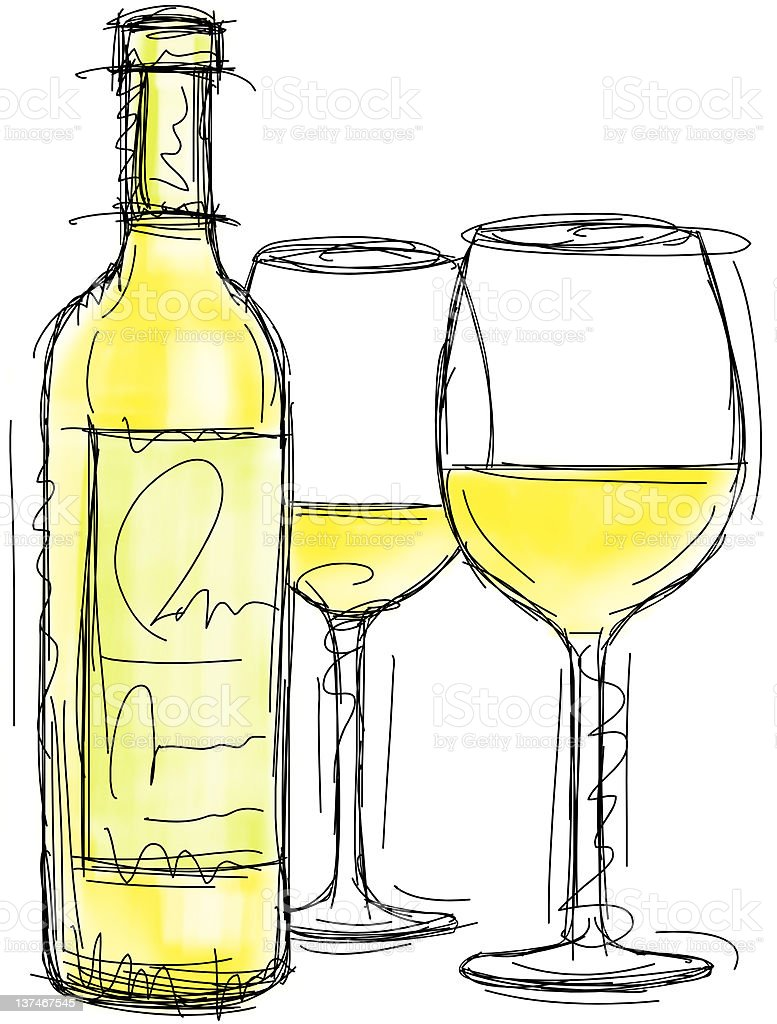 White wine bottle and glasses vector art illustration