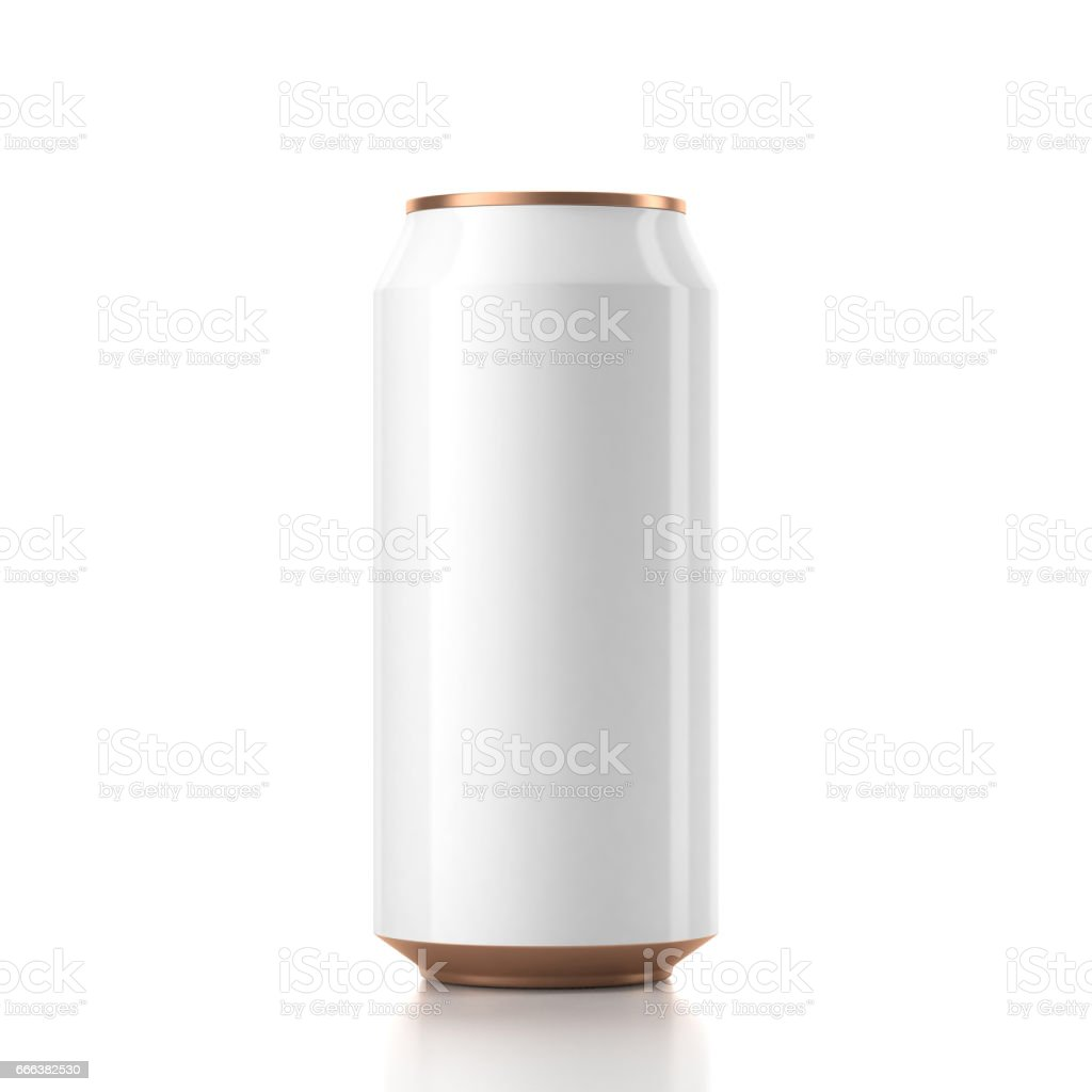 White with Gold Can Mockup vector art illustration
