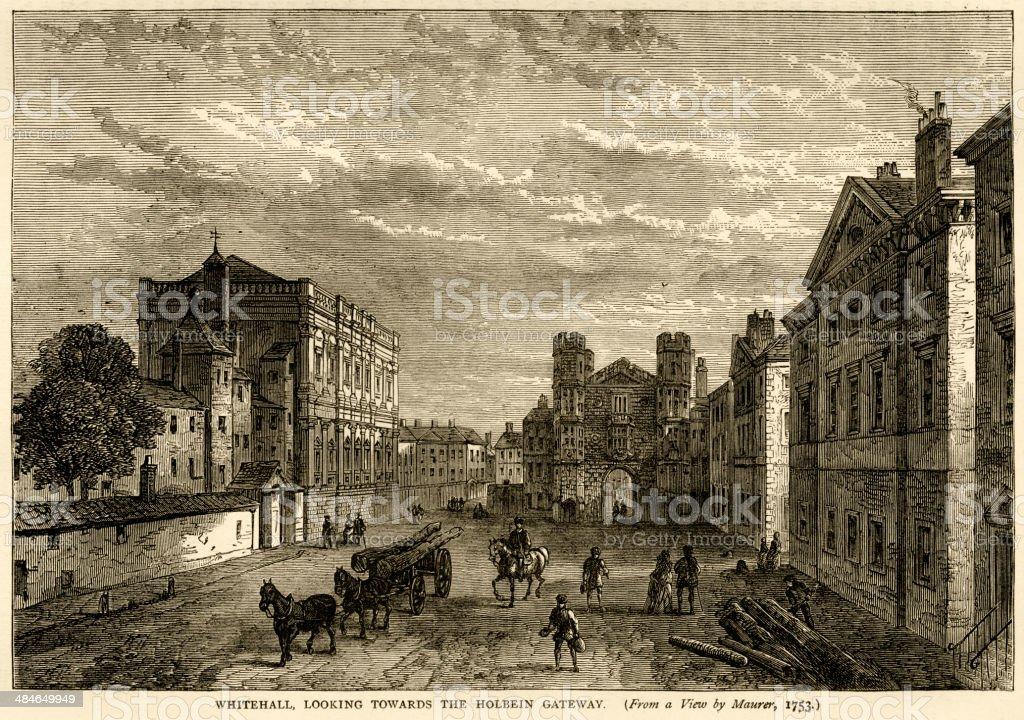 Whitehall, looking towards Holbein Gateway around 1753 vector art illustration