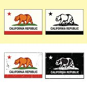 Series of California Flags. Bottom two have distressed effects.