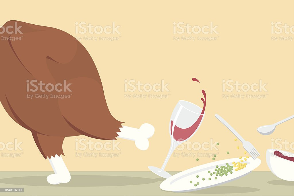 Whole Turkey Dinner Running Off The Table Messing Everything Up royalty-free stock vector art