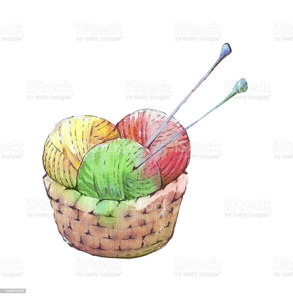 Wicker basket with colorful yarns vector art illustration