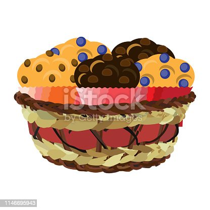 istock Wicker basket with muffins, vector flat illustration 1146695943
