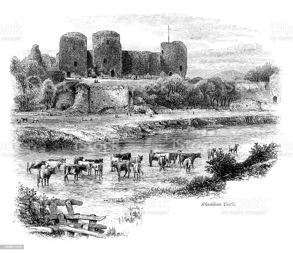 Wide angle shot of Rhuddlan Castle, North Wales vector art illustration