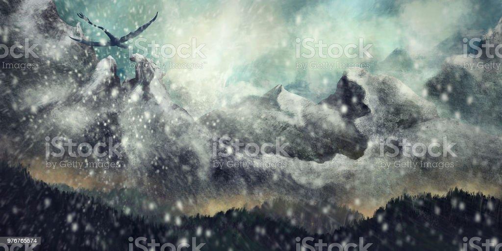 Geniş çevre Fantezi Sahne Bir Kar Fırtınası Dijital Boyama Sırasında