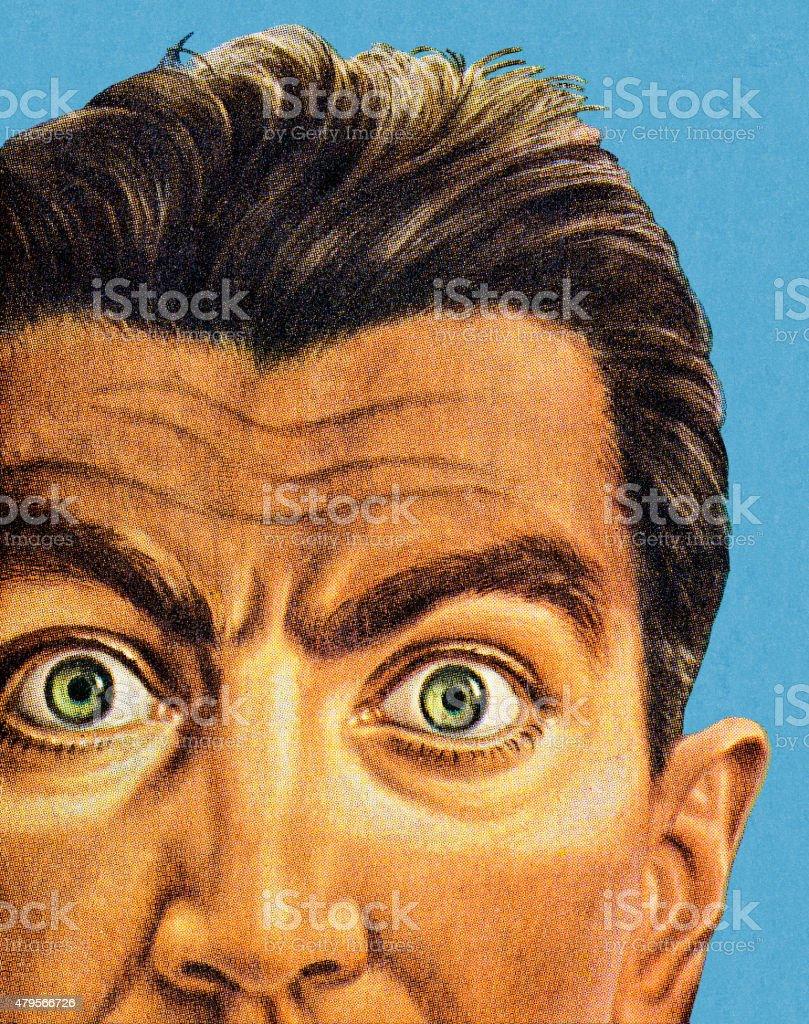 Wide Eyed Man vector art illustration
