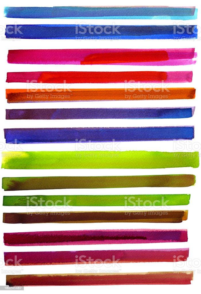 Wide multicolor watercolor lines royalty-free stock vector art