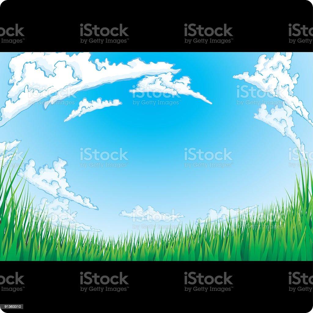Wide Open Grassy Field vector art illustration