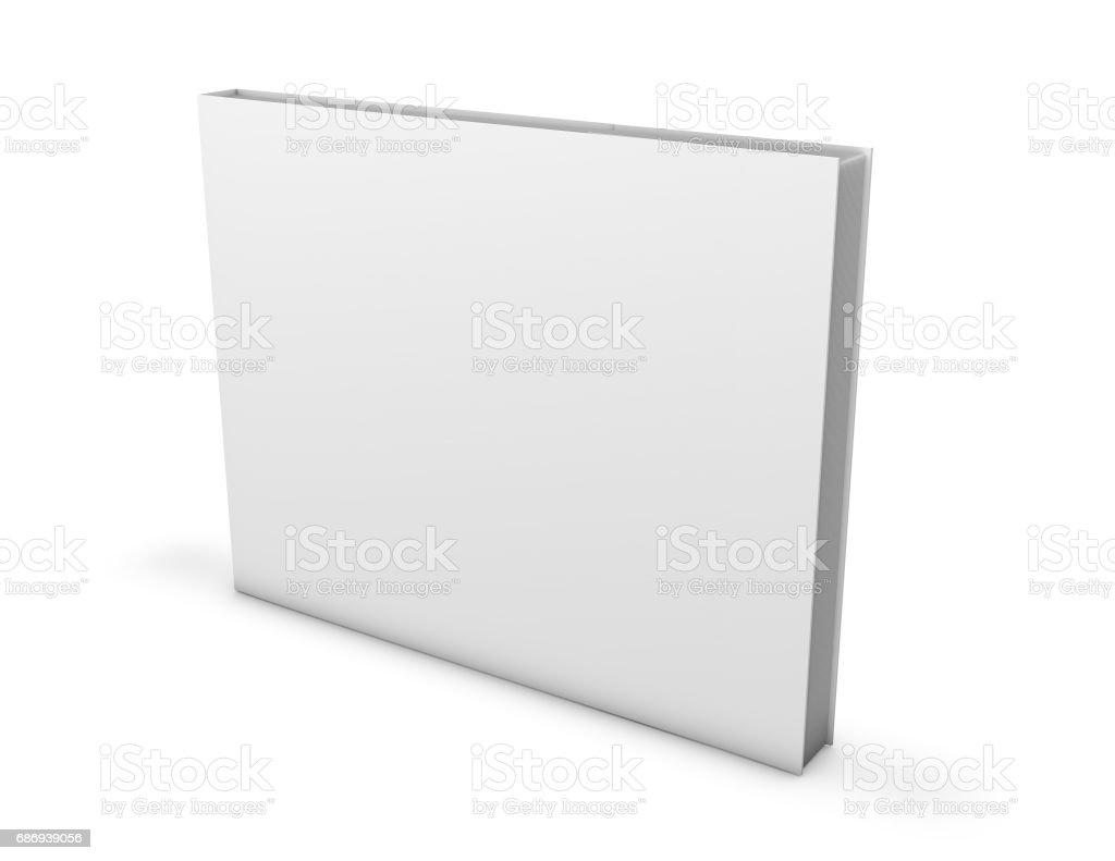 Wide, square horizontal orientation hardcover booklet, photo album mock up empty cover. vector art illustration