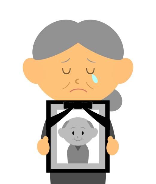 stockillustraties, clipart, cartoons en iconen met weduwe - funeral crying