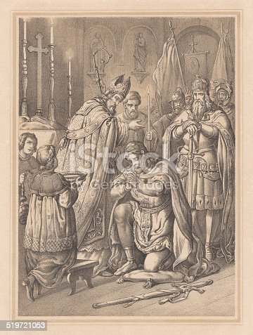 istock Widukind's baptism in 785, lithograph, published in 1865 519721053