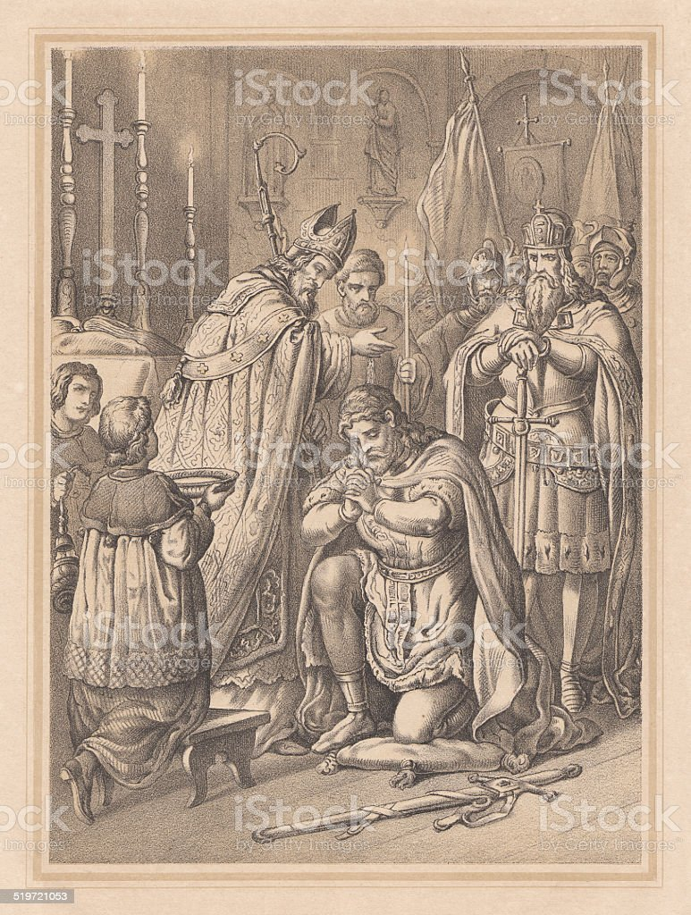 Widukind's baptism in 785, lithograph, published in 1865 vector art illustration