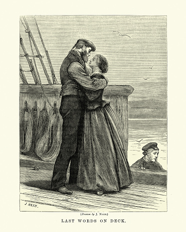 Wife of a sailor saying goodbye to her husband, Victorian