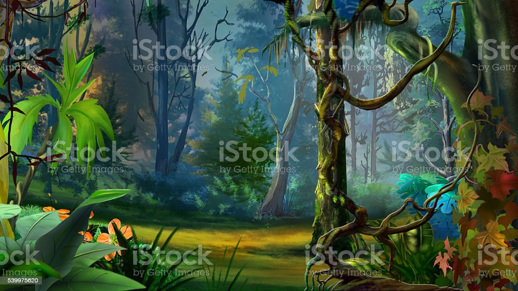 Wild and Dark Tropical Forest. vector art illustration