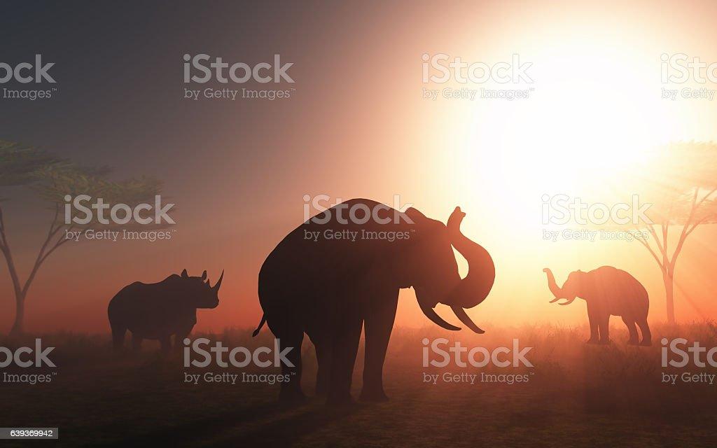 3D wild animals at sunset vector art illustration