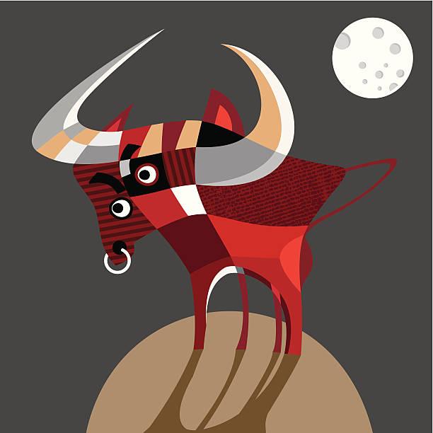 ilustraciones, imágenes clip art, dibujos animados e iconos de stock de wild bull en la luna llena. - tintanegra00