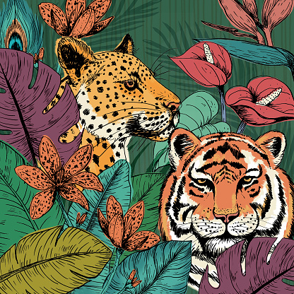 Wild Cats Tropical Forest Background
