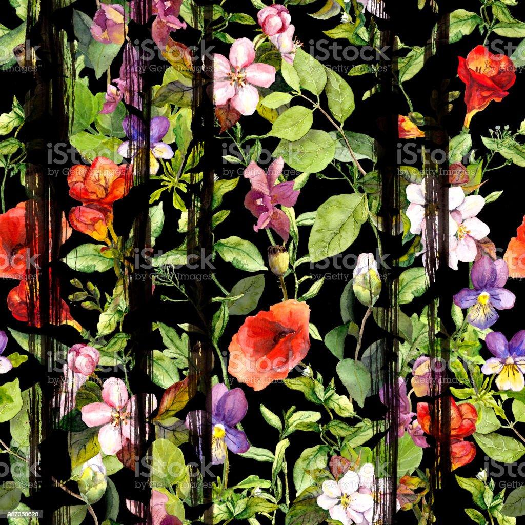 Wild Field Flowers Summer Herbs At Black Striped Background