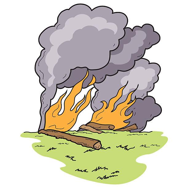 Wild Fire Burning Logs Heavy Smoke Blaze vector art illustration