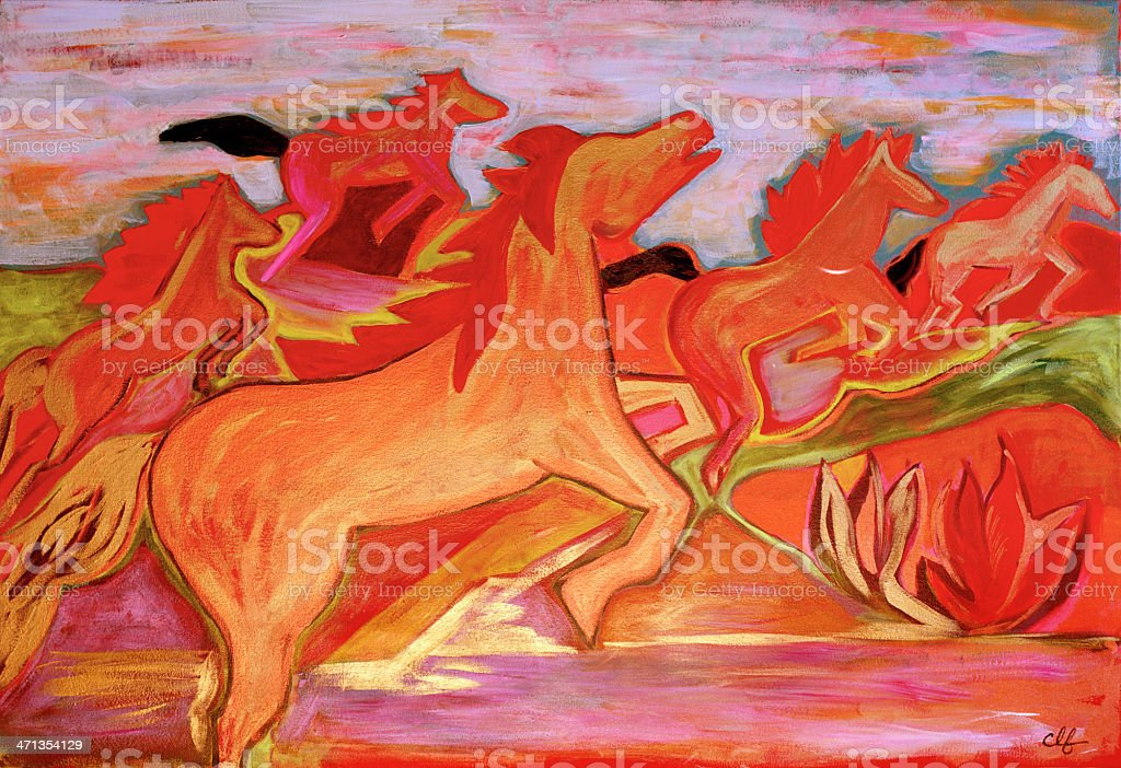 Wild Horses Original Painting Acrylic On Canvas Stock Illustration Download Image Now Istock