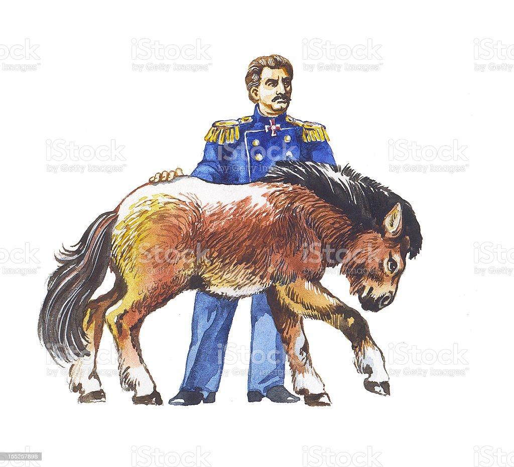 Wild Przewalski's Horse vector art illustration