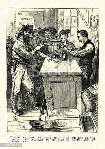 Vintage illustration of Wild West saloon bartender threatened with a gun, Victorian, 1883, 19th Century. I just carved off that ear. Give me the drinks on ot. An incident of barkeeping experience at Bodie, Sierra Nevada, California